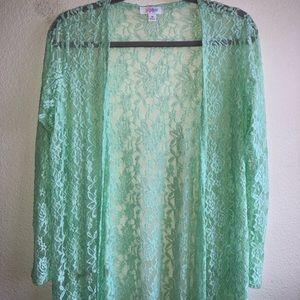 EUC LuLaRoe Mint Green Lace Sarah Cardigan